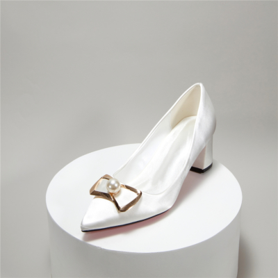 Satin Bridal Bow Pearl Low Block Heel Closed Toe Wedding Shoes