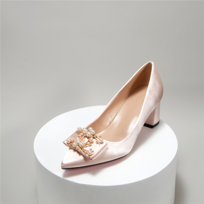 Champagne Satin Bridal Pearl Crystal Low Block Heel Closed Toe Wedding Shoes