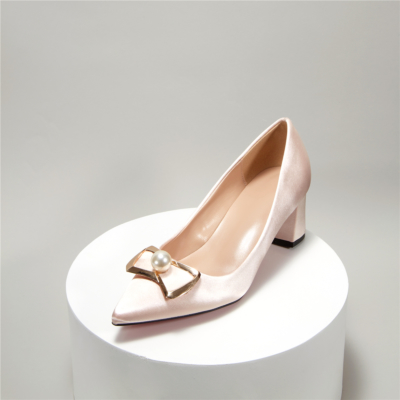 Champagne Satin Bridal Bow Pearl Low Block Heel Closed Toe Wedding Shoes