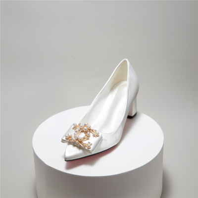 White Satin Bridal Pearl Crystals Low Block Heel Closed Toe Wedding Shoes