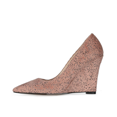 Pink Bridal Wedge Heels Shoes Closed Toe Spring Suede Pumps for Wedding