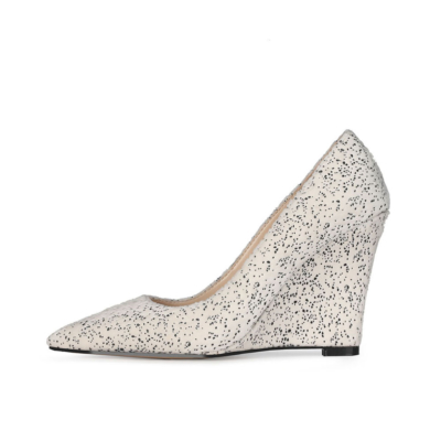 White Bridal Wedge Heels Shoes Closed Toe Spring Suede Pumps for Wedding