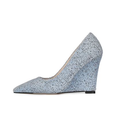 Blue Bridal Wedge Heels Shoes Closed Toe Spring Suede Pumps for Wedding
