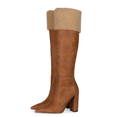 Brown Fur Top Snow Boots Over The Knee Boots