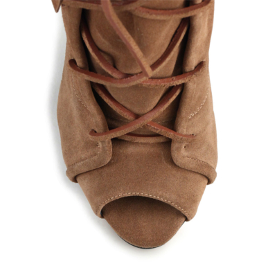 Brown Peep Toe Fringes Lace Up Ankle Boots Sandals Stiletto Heels