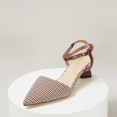 Brown Plaid Pointy Toe Ankle Strap Low Heel Pumps