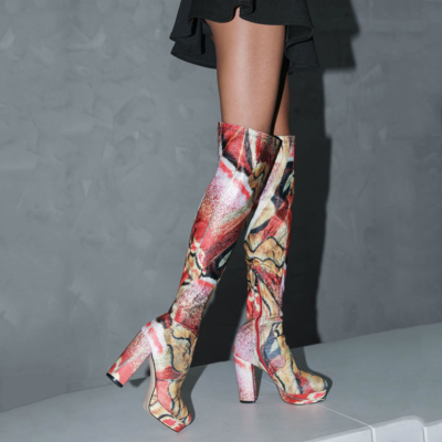 Brown Vinatge Printed Chunky Heel Platform Over-the-knee Boots with Round Toe