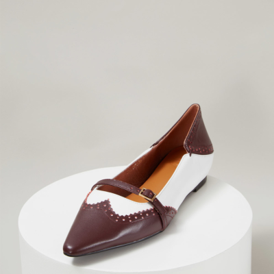 Burgundy Genuine Leather Pointed Toe Wingtip Mary Jane Flats