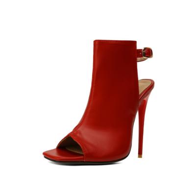 Red Peep Toe Stilettos High Heel Slingback Booties
