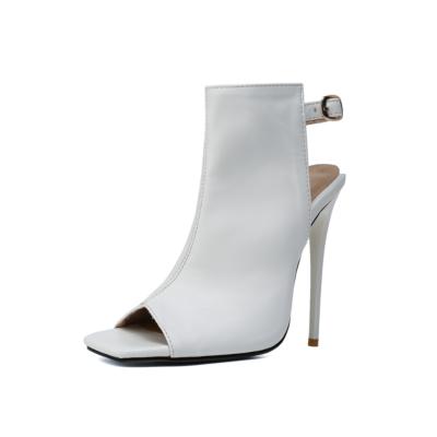 White Peep Toe Stilettos High Heel Slingback Booties