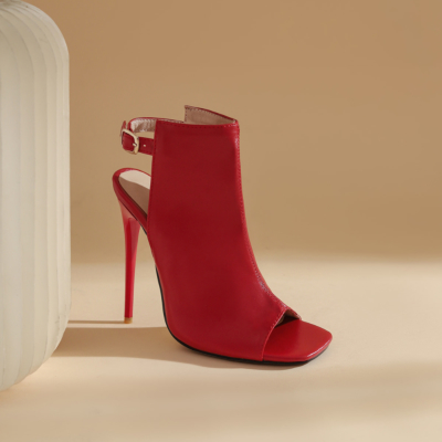 Red Peep Toe Stilettos High Heel Slingback Booties