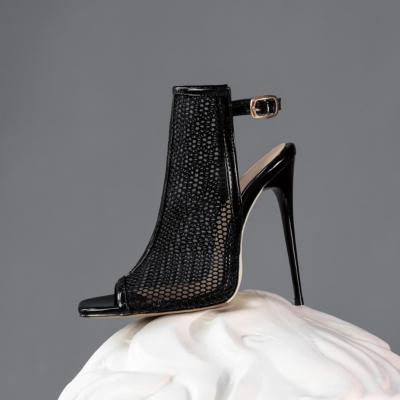 Black Mesh Peep Toe Stilettos High Heel Slingback Booties