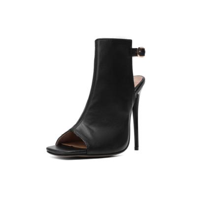 Black Peep Toe Stilettos High Heel Slingback Booties