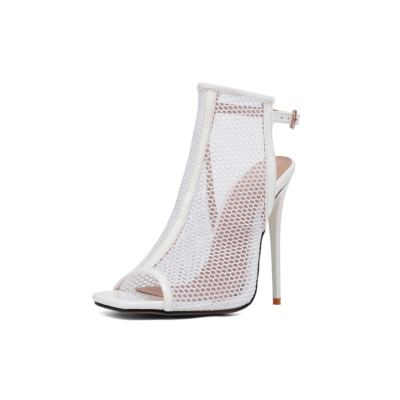 White Mesh Peep Toe Stilettos High Heel Slingback Booties