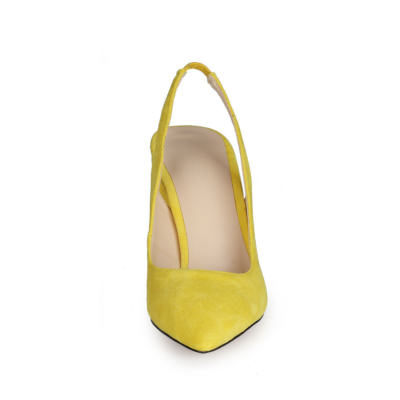 Yellow Chunky Heel Slingback Shoes 2021 Spring Suede Dress Pumps