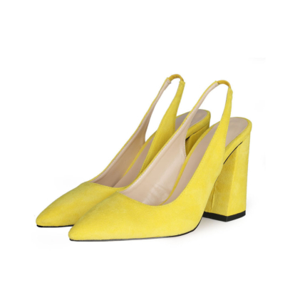 Chunky Heel Slingback Shoes 2021 Spring Suede Pumps for Work
