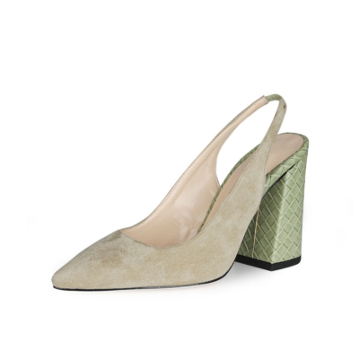 Green Chunky Heel Slingback Shoes 2021 Spring Suede Pumps for Work