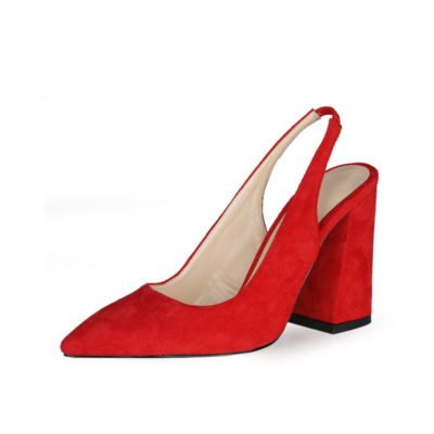 Red Chunky Heel Slingback Shoes 2021 Spring Suede Pumps for Work