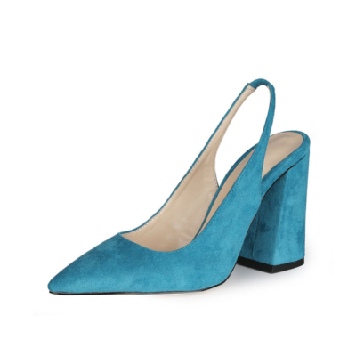 Blue Chunky Heel Slingback Shoes 2021 Spring Suede Pumps for Work