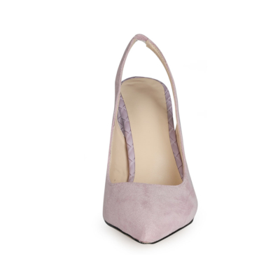 Purple Chunky Heel Slingback Shoes 2021 Spring Suede Pumps for Wedding