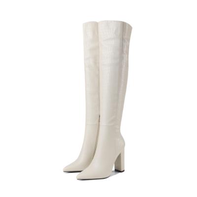White Croc Effect Heeled Zipper Wide Calf Long Dress Boots
