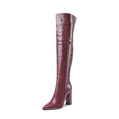 Chunky Heel Zipper Wide Calf Long Dress Boots