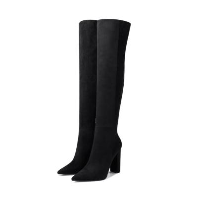 Black Suede Heeled Zipper Wide Calf Long Dress Boots