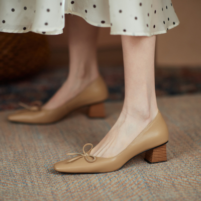 Nude Leather Chunky Heels Dresses Square Toe Bow Pumps Spring Shoes