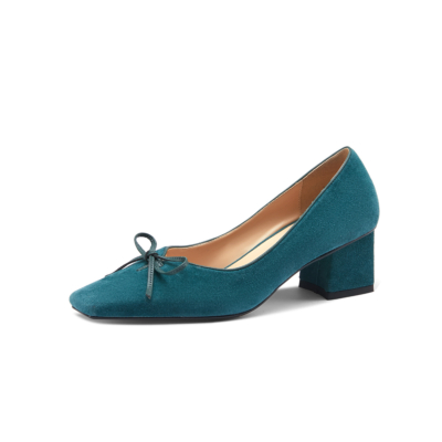 Blue Suede Chunky Heels Dresses Square Toe Bow Pumps Spring Shoes