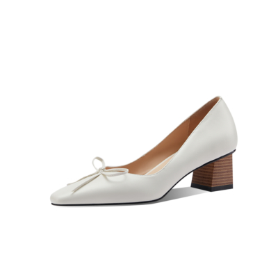 White Leather Chunky Heels Dresses Square Toe Bow Pumps Spring Shoes