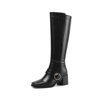Black Chunky Low Heel Knee High Boots Buckle Square Toe Zip Riding Boots