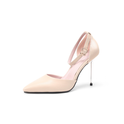 Nude Ankle Strap Stiletto Pump Heels Pointed Toe High Heels