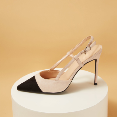 Nude Classic Pointed Toe Heeled Buckle Slingback Work Pumps