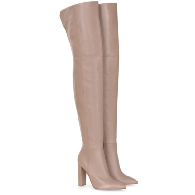 Nude Classic Pointed Toe Block Heel Woman Thigh High Boots