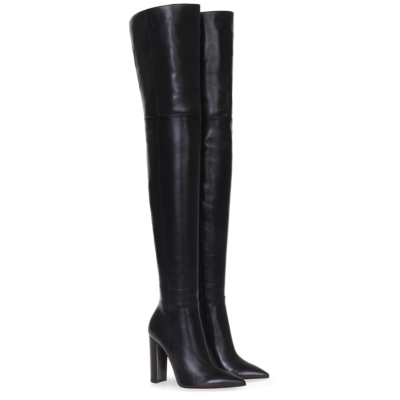Classic Pointed Toe Block Heel Woman Thigh High Boots