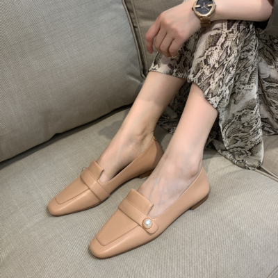 Nude Soft Leather Pearl Flat Loafer Shoes for Women