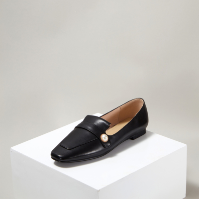 Classic Soft Leather Pearl Flat Loafer Shoes for Women