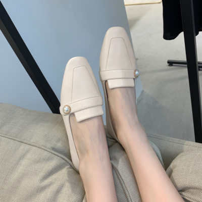 White Soft Leather Pearl Flat Loafer Shoes for Women