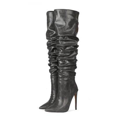 Grey Classic Women's Stiletto Heel Over-the-Knee Dancing Boots