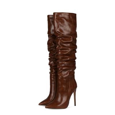 Brown Classic Women's Stiletto Heel Over-the-Knee Dancing Boots