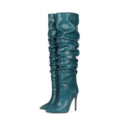 Blue Classic Women's Stiletto Heel Over-the-Knee Dancing Boots