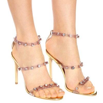Clear Ankle Strap Open Toe Stiletto Strappy Sandals Rhinestones PVC Shoes