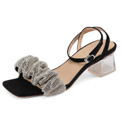Clear Block Heel Crystals Party Sandals Ankle Strap Buckle Shoes