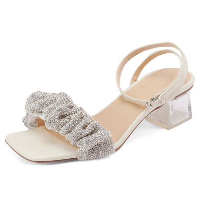 Clear Block Heel Crystals Party Sandals Ankle Strap Buckle Shoes in White