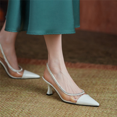 White Clear Crystal Slingback Pumps Pointed Toe Shoes with Spool Heel