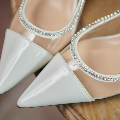 Clear Crystal Slingback Pumps Pointed Toe Shoes with Spool Heel