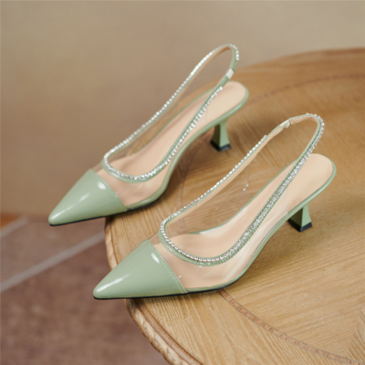 Green Clear Crystal Slingback Pumps Pointed Toe Shoes with Spool Heel