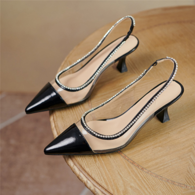 Black Clear Crystal Slingback Pumps Pointed Toe Shoes with Spool Heel