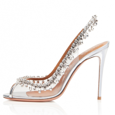 Wedding Clear Crystals Stiletto Heels PVC Slingback Pumps with Peep Toe
