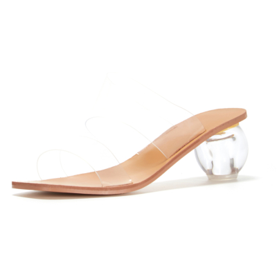 Clear Round Low Heel Mules PVC Transparent Slip On Heeled Sandals